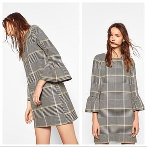 ZARA TRF Frilled Sleeves Check Houndstooth Dress